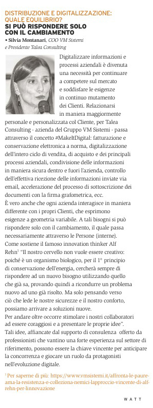 Watt Elettroforniture - Intervista a Silvia Montanari