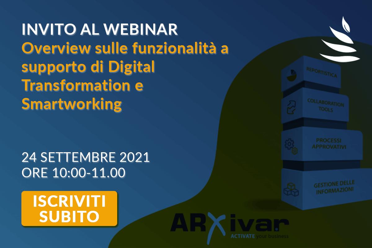 Invito al Webinar ARXivar NEXT: partecipa al webinar gratuito del 24 Settembre 2021